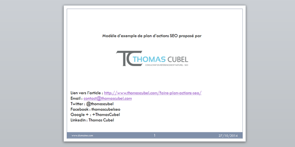 Slide powerpoint du modèle de plan d'actions