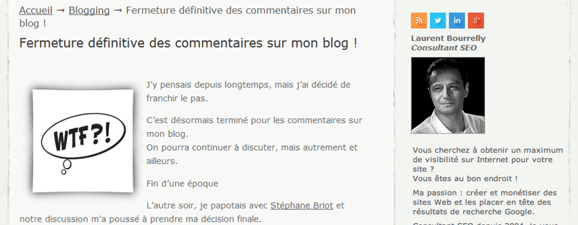 Screenshot blog Laurent Bourelly