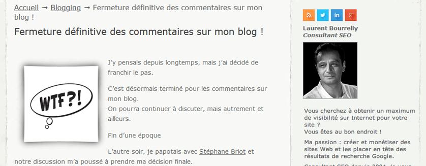 Laurent Bourrelly et sa fermeture de commentaires