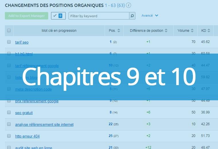 Chapitres 9 et 10 : création de popularité et suivi analytics