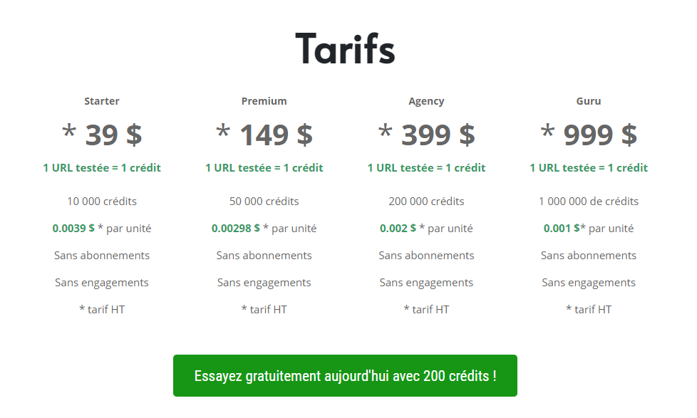 tarif et offres isindexed